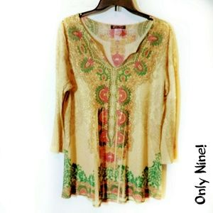 Only Nine! Small Tan Gold Sparkle Tunic top